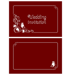 red wedding invitation and save the date cards vector image