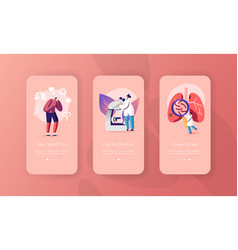 Respiratory system exam mobile app page onboard vector