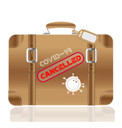 retro leather suitcase with covid-19 cancelled vector image