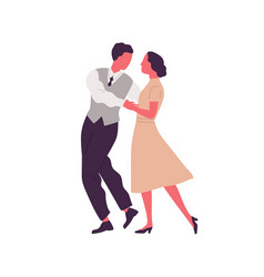 romantic pair holding hands and dancing lindy hop vector image