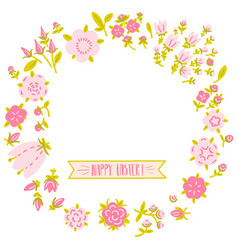round frame in the form of a flower wreath vector image