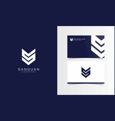 s abstract company logotype with business card vector image