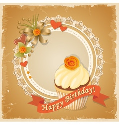 Scrapbooking birthday card with cupcake vector