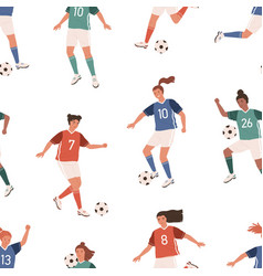 seamless pattern with female football players on vector image