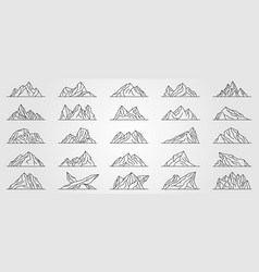 Set mountains line art logo minimalist design vector