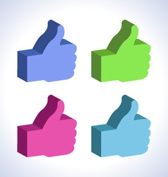 set of 3d colorful Thumb Up vector image