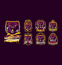 set of aggressive bear emblems sports logo bear vector image