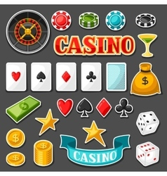 Set of casino gambling game sticker objects and vector