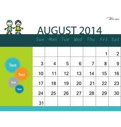 simple 2014 calendar august vector image