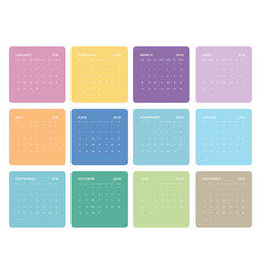 Simple colorful universal calendar for 2018 vector