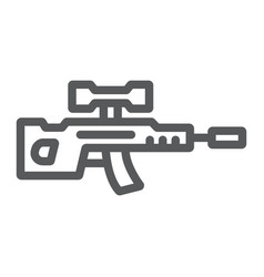 Sniper rifle line icon weapon and military gun vector