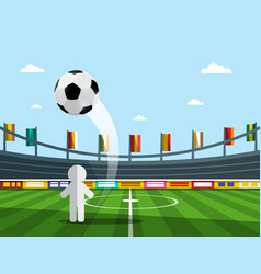 soccer player on championship with ball on stadium vector image