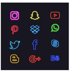 Social neon buttons vector