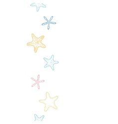 Starfish colorful line art vertical seamless vector image