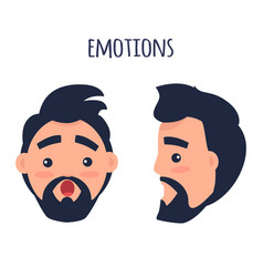 Surprised emotion face from different angles vector