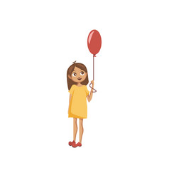 sweet little girl standing with balloon cartoon vector image
