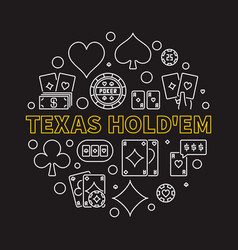 texas holdem poker game round linear vector image