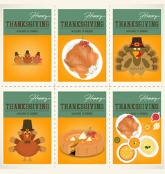 Thanksgiving day posters set vector