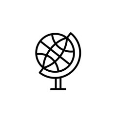 the globe line icon black vector image