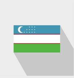 Uzbekistan flag long shadow design vector