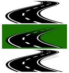 Vanishing fading two-lane road in versions simple vector