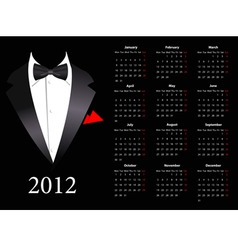 vector european calendar 2012 with elegant suit st vector image