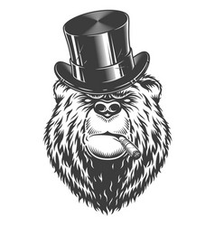 vintage logo style bear vector image