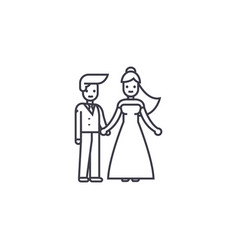 wedding couple line icon sign vector image
