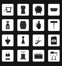 Wine icons set squares vector