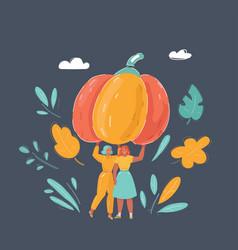 women with big pumpkin on dark vector image