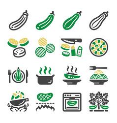Zucchini icon set vector