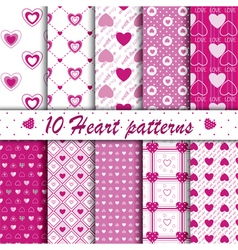 10 Pink heart shape seamless patterns collection vector image
