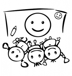 kids draw smile vector image vector image