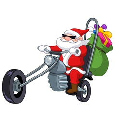 santa with motorcycle vector image vector image