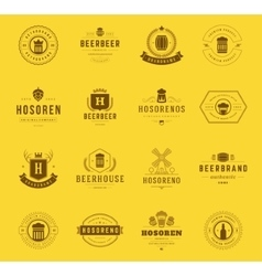Set beer logos badges and labels vintage style vector