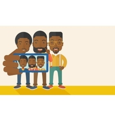 Three black men taking selfie vector image
