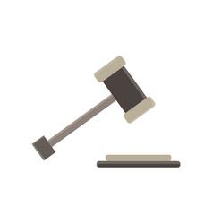 Hammer of a judge gavel flat icon act bid bidder vector
