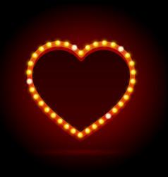 light bulbs vintage neon glow heart frame vector image vector image
