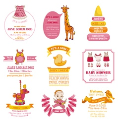 Set of Baby Shower and Arrival Cards vector image