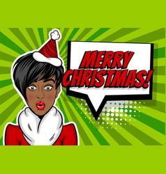 woman pop art greeting christmas vector image