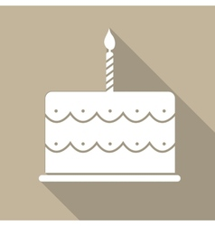 Birthday Cake Flat Web Icon vector image