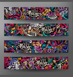 cartoon hand-drawn doodles musical banners vector image