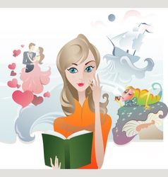 Cute Girl reading a Book vector image vector image