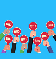 hand holding auction paddle bidding concept vector image vector image