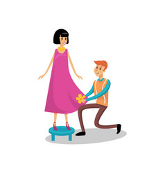 male dressmaker serving his female client sewing vector image
