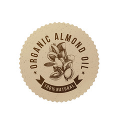 organic almond oil emblem vector image
