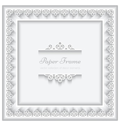 Paper lace square frame vector image