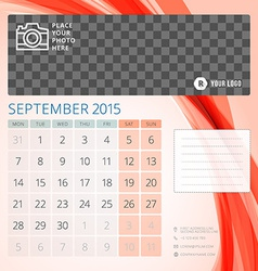 Calendar 2015 September template with place for vector image vector image