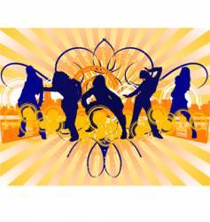 dancing girls silhouette vector image vector image