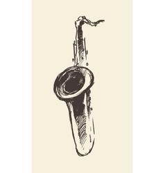 Sketch saxophone retro style drawn vector image vector image